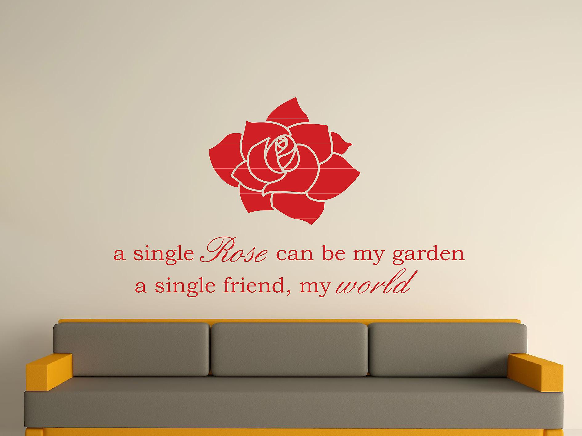 A Single Rose Wall Art Sticker - Deep Red