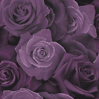 Roses Wallpaper Flower Floral Heavyweight Modern Purple Arthouse
