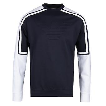 Emporio Armani Raglan manga camisola da Marinha & branca