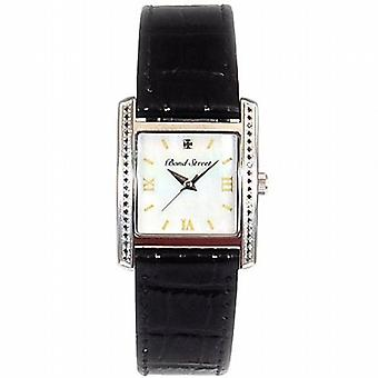 Genuine Diamond  Bond Street Gents Black Leather Strap Dress Watch GOTW93