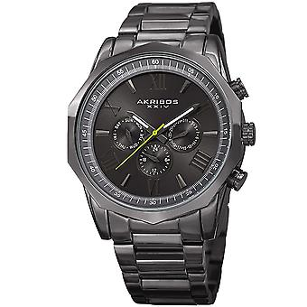 Akribos XXIV AK940GN dos huso horario dodecagonal acero pulsera reloj