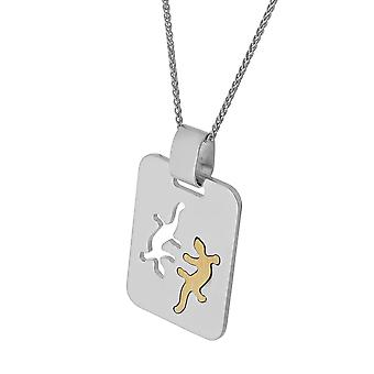 PENDANT WITH CHAIN DOUBLE SALAMANDER BICOLOR 925 SILVER
