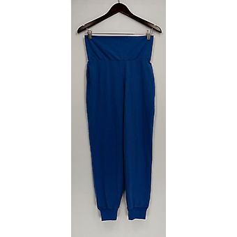 Women with Control Petite Pants Foldover Waist Knit Blue A287080