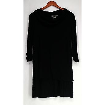 Kate & Mallory Sweater Cowl Neck Tunic with Hi-Low Hem Black A428098