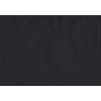 Black Peel/Seal C5/A5 Coloured Black Envelopes. 100gsm FSC Sustainable Paper. 162mm x 229mm. Wallet Style Envelope.