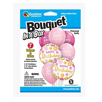 Party Supplies - Pioneer - 7 ct.Balloon Bouquet-in-a-Box Set - Birthday Pink/Gold Dots 89063
