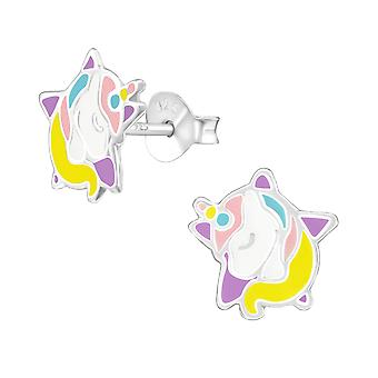 Unicorn - 925 Sterling Silver Colourful Ear Studs - W38386X