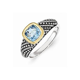925 Sterling Silver With 14k Lt Swiss Blue Topaz Ring - Ring Size: 6 to 8