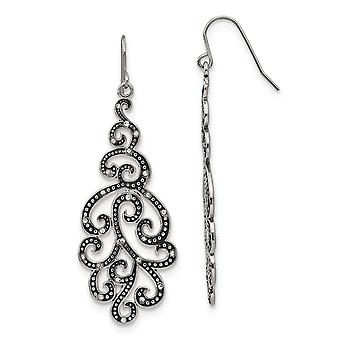 Stainless Steel Polished Antiqued Crystal Shepherd Hook Earrings