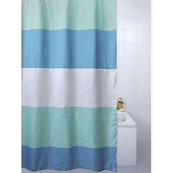 Horizon Blue Striped Polyester Shower Curtain 180 x 180cm
