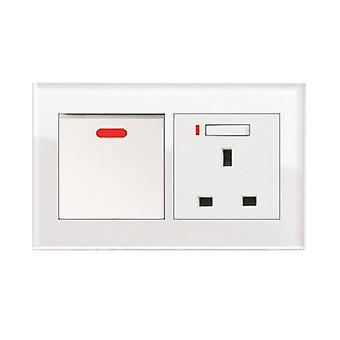 I LumoS AS Luxury White Crystal Glass Double 20A Switch with Switched Neon 13A UK Socket