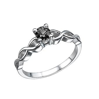 0.50 CT 14 K White Gold Black Diamond Ring Twisted flätad Solitaire