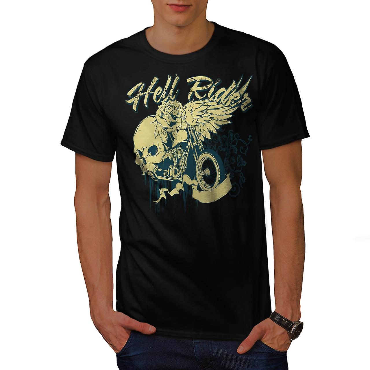 Hell Rider Biker Life Rose Skull Men Black T-shirt | Wellcoda