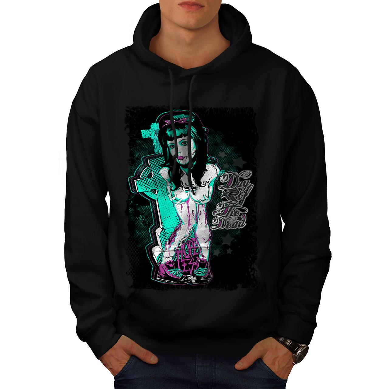 Day of The Dead Girl Hopeless Men Black Hoodie | Wellcoda