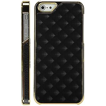 Plastic cover skin with Golden lozenges-iPhone 5 (black)