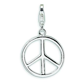 Sterling Silver Large Polished Peace Sign With Lobster Clasp Charm - 1.4 Grams - Measures 30x18mm