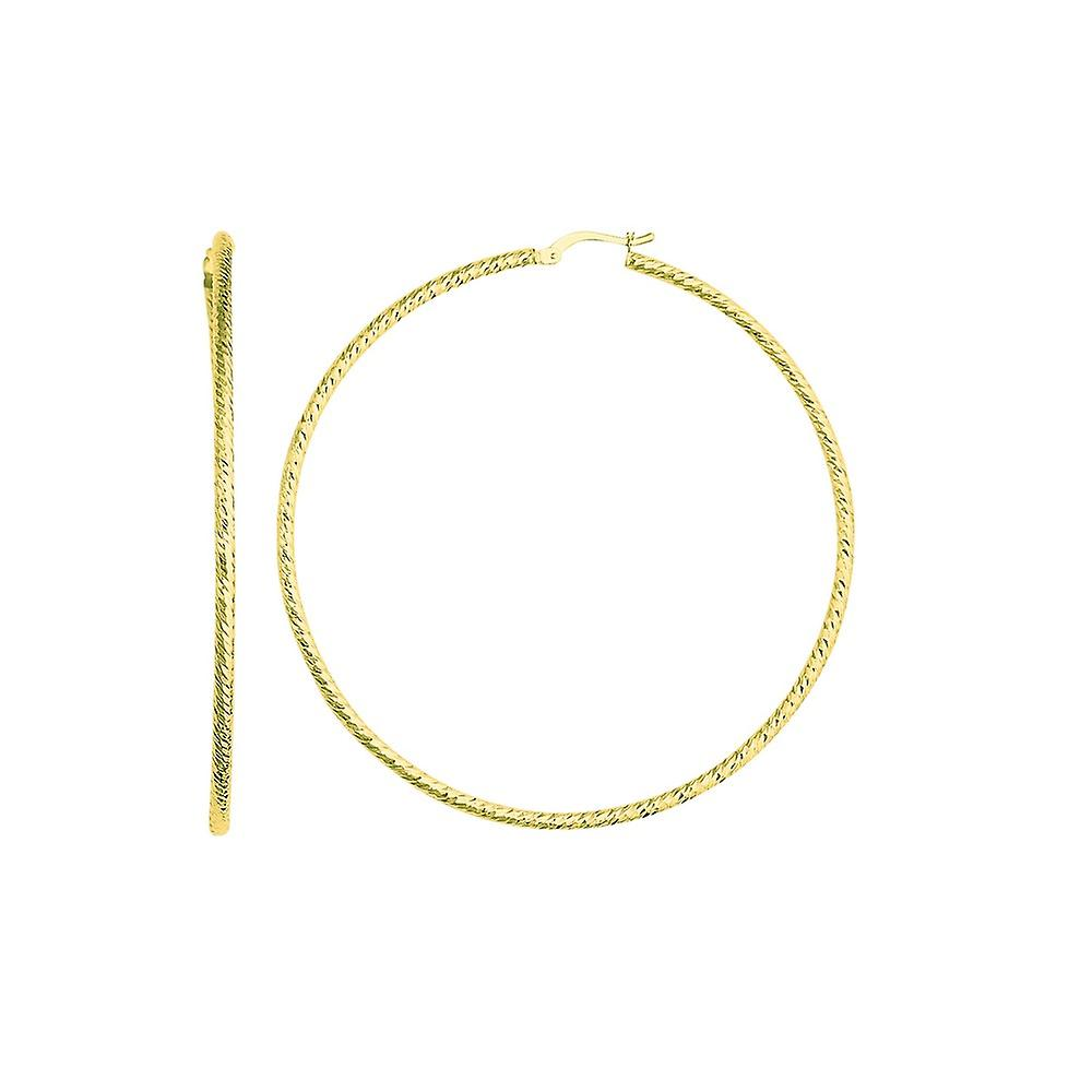 14k blanc or Sparkle-Cut Round Tube Design Hoop boucles d'oreilles With Hinged Clasp - 3.2 Grams