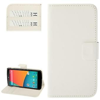 Cell phone case horizontal flip with credit card slots for LG Google nexus 5 / E980 white
