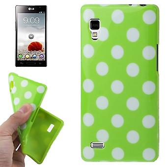 Protective case TPU points of case for mobile LG Optimus L9 / P760 Green