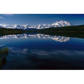 Mt Mckinley Reflected In Wonder Lk Denali Np Ak PosterPrint