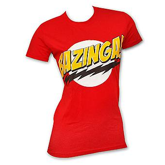 Big Bang teorien Bazinga Red juniorer Graphic Tee Shirt