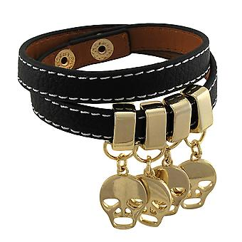 Leather Double Wrap Bracelet with Golden Skull Charms