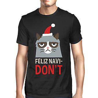 Feliz Navidon't negro camiseta regalo de Navidad de los hombres para los amantes del gato