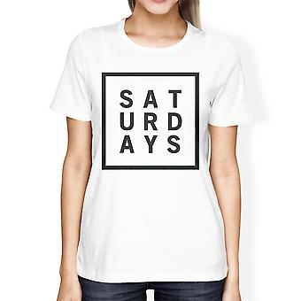 Saturdays Girls White Tops Cute Short Sleeve Tee Typographic Print