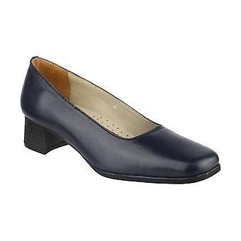 Amblers Walford dames Hof schoenen textiel leer PU Slip op bevestiging van schoeisel