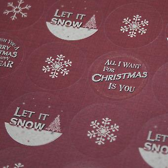 East of India Christmas Stickers Red Let it Snow Snowflake x 40 Round Xmas