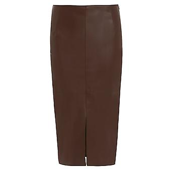 River Island Brown Leather-Look Split Front SkirT