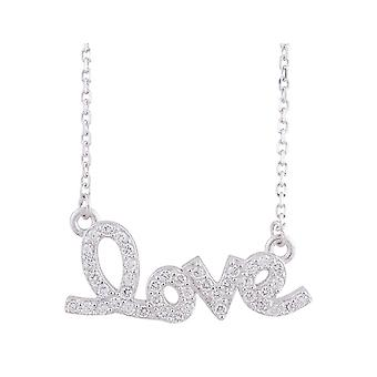 Synthetic Crystal Love Pendant Necklace in Sterling Silver with Rhodium Plating