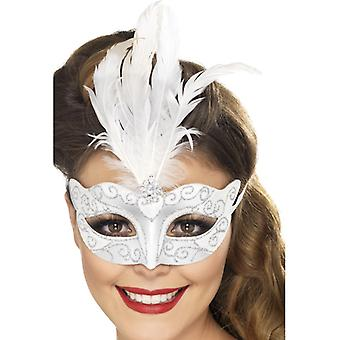 Venetian glitter eye mask silver with feathers