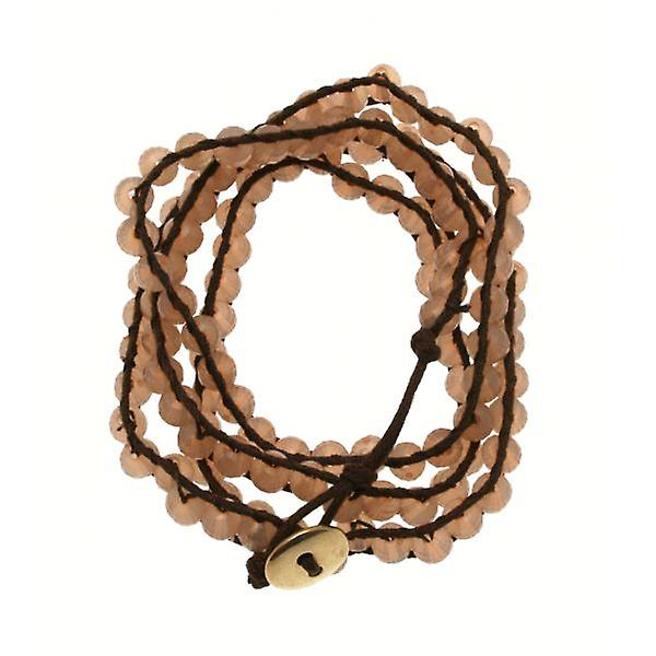 W.A.T Brown Cord And Pink Pastel Bead Wrap Bracelet