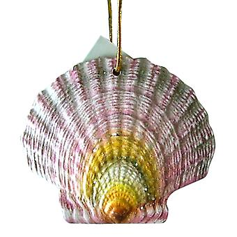 Tropical Beach Seashell Tiki Christmas Ornament Purple ORNShell05
