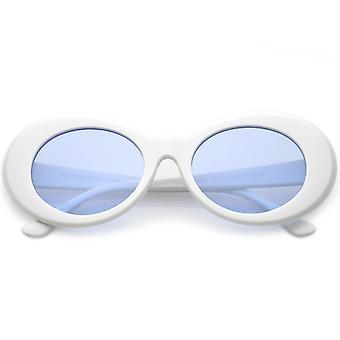 Retro Oval solbriller med koniske arme farvet linse 50mm