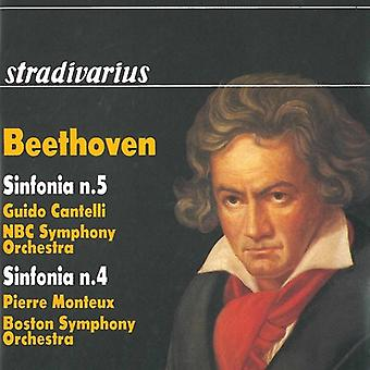 Beethoven / Bso / Cantelli / Monteux / NBC Sym Orc - Symphonies 5 & 4 [CD] USA import
