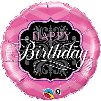 Qualatex 18 Inch Round Happy Birthday Pink & Black Foil Balloon