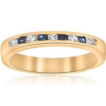 1/3ct Diamond & Blue Sapphire Anniversary Wedding Ring 14k Yellow Gold