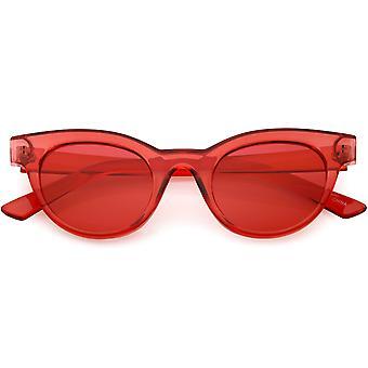 Frauen Transparent Cat Eye Sonnenbrille Horn umrandeten Farbe getönt Allround-Objektiv 47mm