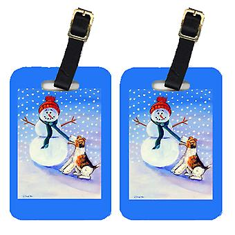Carolines Treasures  7156BT Snowman with  Fox Terrier Luggage Tags Pair of 2