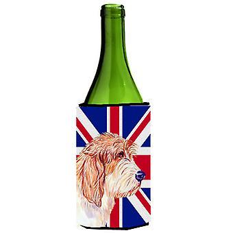 Petit Basset Griffon Vendéen PBGV met Engelse Union Jack Britse vlag wijn Bott