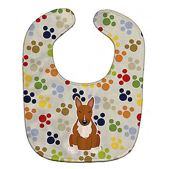 Carolines Treasures  BB5963BIB Pawprints Bull Terrier Red Baby Bib