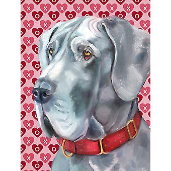 Great Dane Hearts Love and Valentine's Day Flag Canvas House Size