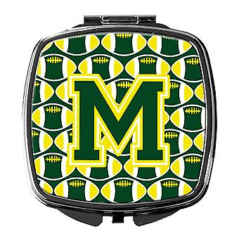 Letter M Football Green and Yellow Compact Mirror