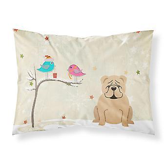 Christmas Presents between Friends English Bulldog Fawn Fabric Standard Pillowca