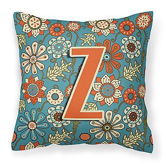 Letter Z Flowers Retro Blue Canvas Fabric Decorative Pillow