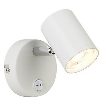 Searchlight 3171WH Rollo One Light Wall Spotlight In White And Chrome