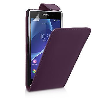 Yousave Zubehör Sony Xperia Z2 Leder-Effekt Flip Case - lila