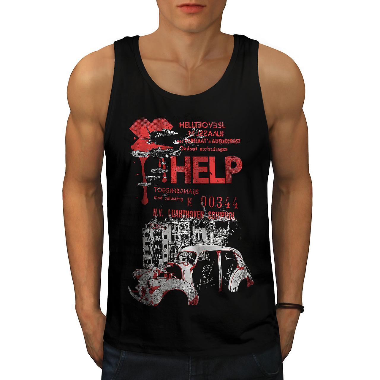 Help Hell City Fashion Men BlackTank Top | Wellcoda